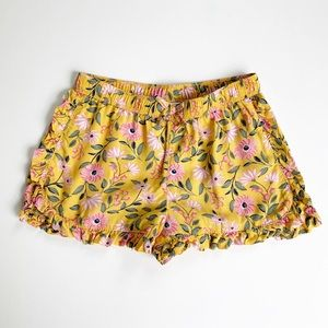 Mustard Yellow Floral Shorts w/ Ruffle Trim 2T